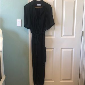 Urban Outfitters UO Black Silky Aviator Jumpsuit